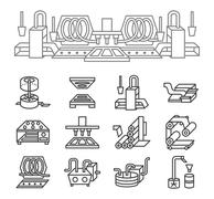 Food production simple line icons Stock Illustration