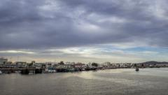 Sunset Timelapse at Olhao Fishing Port (Zoom In) Stock Footage