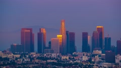 Downtown Los Angeles skyline changing from sunset to night city 4K UHD Timelapse Stock Footage