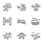 Military drones simple line icons Piirros