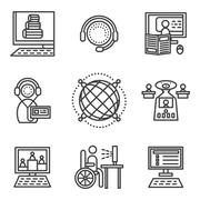 Online education simple icons set Stock Illustration