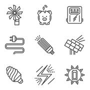Saving energy simple icons set Stock Illustration