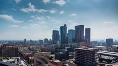 Zoom in on downtown Los Angeles. Aerial view of day city. 4K UHD timalapse Stock Footage