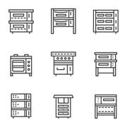 Ovens simple line icons set - stock illustration