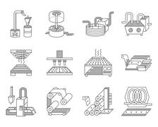 Icons for food processing industry - stock illustration