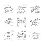 Abstract icons for military drones Stock Illustration