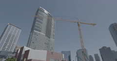 WS pan tower Crane - stock footage