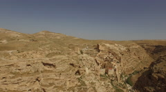 Aerial of Kidron Valley near Mar Sabas Monastery Stock Footage