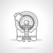 CT scanner line vector icon - stock illustration