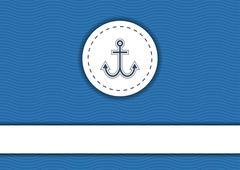 Navy poster with sea waves pattern on background, anchor and copyspace - stock illustration