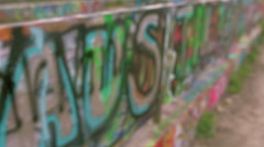 Graffiti Wall in Austin, Texas, CU Slo mo, handheld Stock Footage