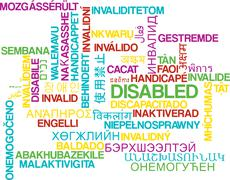 Disabled multilanguage wordcloud background concept - stock illustration