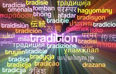 Tradition multilanguage wordcloud background concept glowing - stock illustration