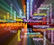 Wealthy multilanguage wordcloud background concept glowing - stock illustration