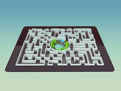 Stock Illustration of Maze Strategy Success Solution Determination Direction Concept