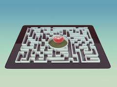 Maze Strategy Success Solution Determination Direction Concept - stock illustration