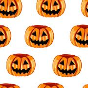 Stock Illustration of Seamless pattern with scary pumpkins