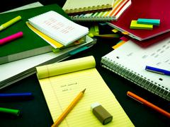 Learning New Language Writing Words Many Times on the Notebook; English - stock photo