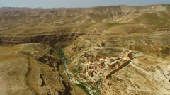 Aerial of Mar Sabas Monastery in the Desert Stock Footage
