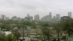 Austin City Skyline on Foggy Day, WS pan R to L - stock footage
