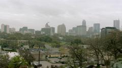 Austin City Skyline on Foggy Day, WS pan R to L Stock Footage