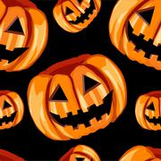 Seamless pattern with scary pumpkins - stock illustration