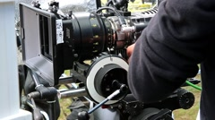 Film camera shooting Stock Footage