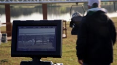 Monitor and projector preparing  film shoot Stock Footage