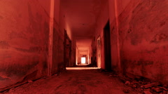 4K  gateway to hell inside a scary abandoned coridor of an evacuated building Stock Footage