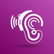 Ear vector icon hearing aid ear listen sound graphics Stock Illustration