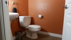 Bathroom Slider Pull Back Slow Stock Footage