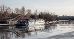 Stock Video Footage of Timelapse Edmonton Queen Riverboat in spring.