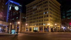 Timelapse of  city street at night. Stock Footage