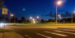 Timelapse of traffic circle / roundabout at night Stock Footage