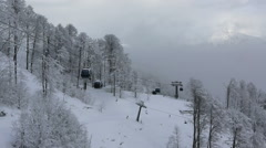 Gondola ski lift in Rosa Khutor Alpine Resort. Time Lapse Stock Footage