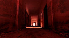 4K  gateway to hell,scary abandoned corridor with vertigo morphing effect Stock Footage