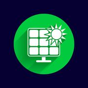 Solar energy panel icon vector sun power Piirros