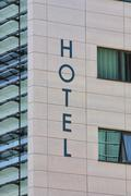 Stock Photo of Hotel Sign and Windows