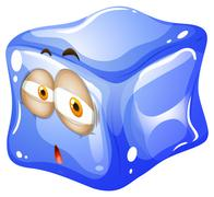 Blue ice cube with face - stock illustration