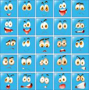 Facial expression on blue button Stock Illustration