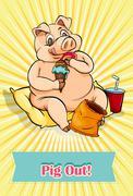 English idiom pig out - stock illustration