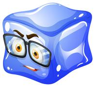 Ice cube with glasses - stock illustration