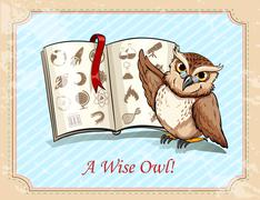 Idiom a wise owl - stock illustration