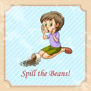 Idiom spill the beans - stock illustration