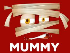 Mummy wrapped with cloth - stock illustration