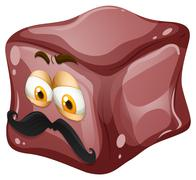 Ice cube with face - stock illustration