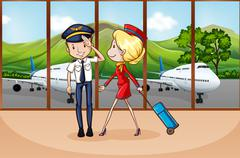 Cabin crew at airport - stock illustration