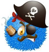 Pirate face on fluffy ball - stock illustration