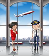 Cabin crew at airport Stock Illustration