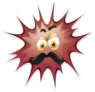 Face with mustache on brow splash - stock illustration
